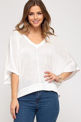 White V-Neck Drop Sleeve Top