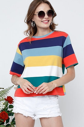 Striped Cotton Tee in Bright Multi