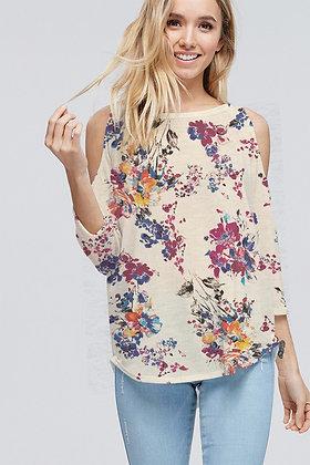Floral Cold Shoulder Top