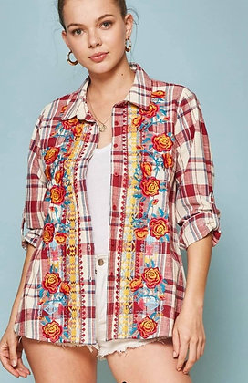 Red Plaid and Embroidered Button Front