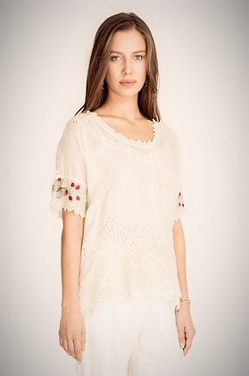 Johnny Was Dolman Cream Eyelet Top