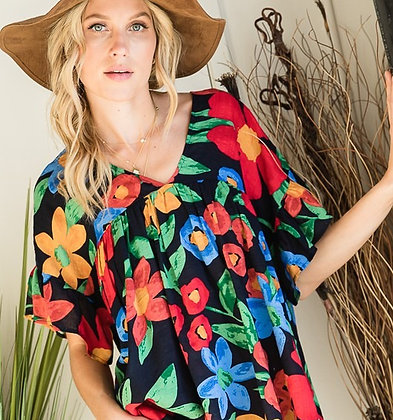 Floral V-Neck Ruffle Top