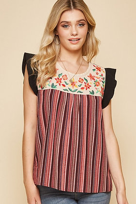 Ruffle Sleeve Cotton Stripe and Floral Top