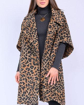Ivy Jane One Size Leopard Poncho Style Coat