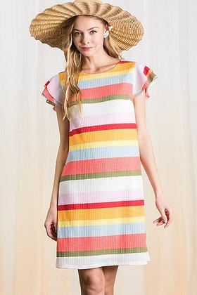 Waffle Knit Stripe Dress w/Lining