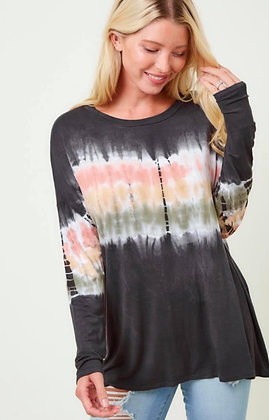 Charcoal Long Sleeve w/Tye Dye Detail