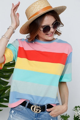 Striped Cotton Tee in Pastel Multi