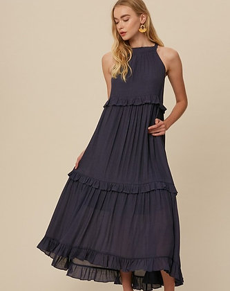 Navy Tiered Maxi Dress