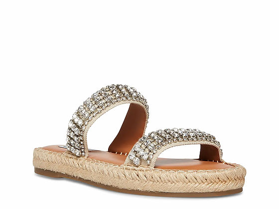 Steve Madden Crystal and Leather Slide