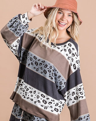Oversized Leopard and Stripe Top