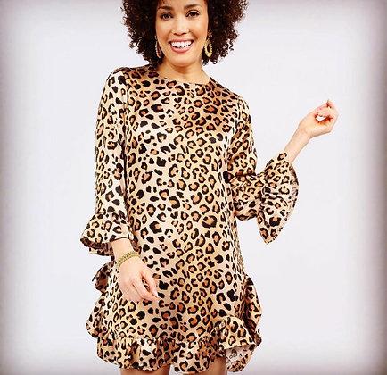 Ivy Jane Leopard Ruffle Trim Dress
