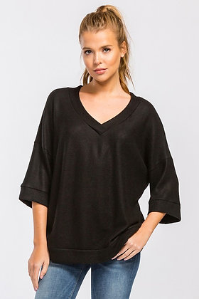 Black Brushed Knit V-Neck Sweater