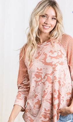 Apricot 3/4 Crochet Sleeve Paisley Top