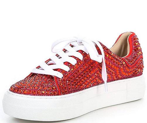 Betsey Johnson Red Sparkle Sneaker