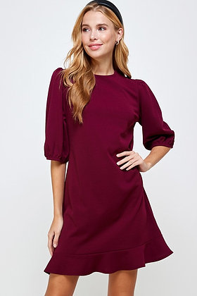 Crimson Half Sleeve Dress