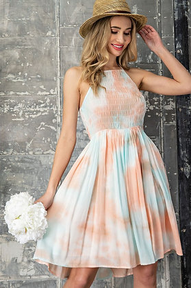 Peach and Blue Washed Halter Dress