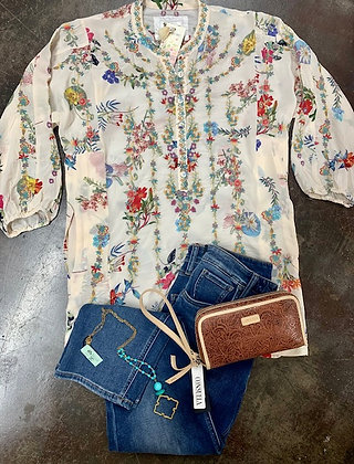 Johnny Was Silk Floral Print Tunic/Top