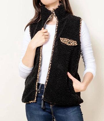 Black Plush Vest w/Leopard Trim