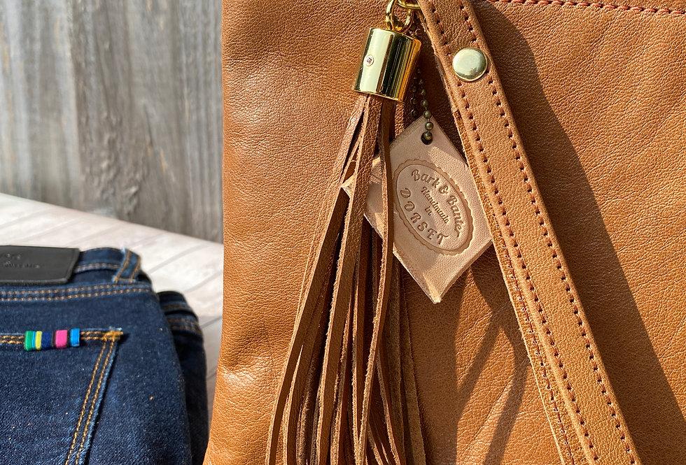Soft Tan Leather Clutch Bag