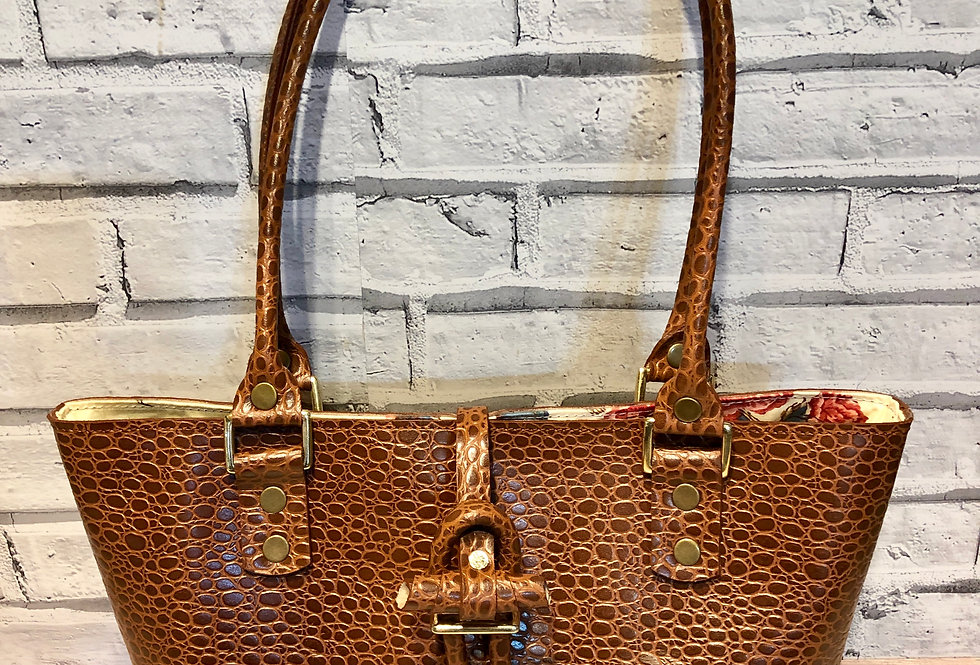 """Brown Textured Leather Bag """"Brandy"""""""