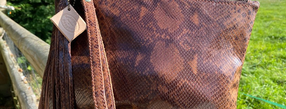 Brown Snakeskin Leather  Clutch Bag