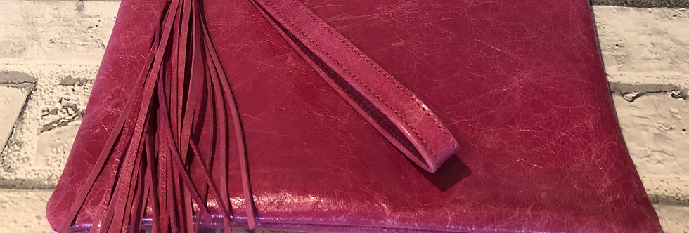 HANDMADE FULLY LINED CLUTCH BAG - BRIGHT PINK SHINY  LEATHER
