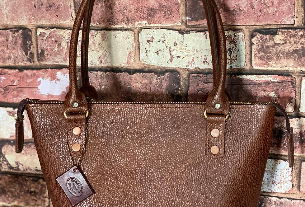 Ladies Ziptop Leather Tote Bag