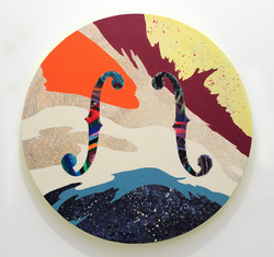 The Sound of Moon_달소리, acrylic on canvas, 100x100cm, 2014