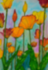 Fanciful_Tulips_5.5x8_watercolor_pen_ink