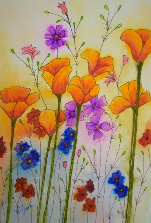 Orange_Poppies_5.5x8_watercolor_penink_1