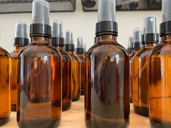 aromatherapy bottles awaiting labels