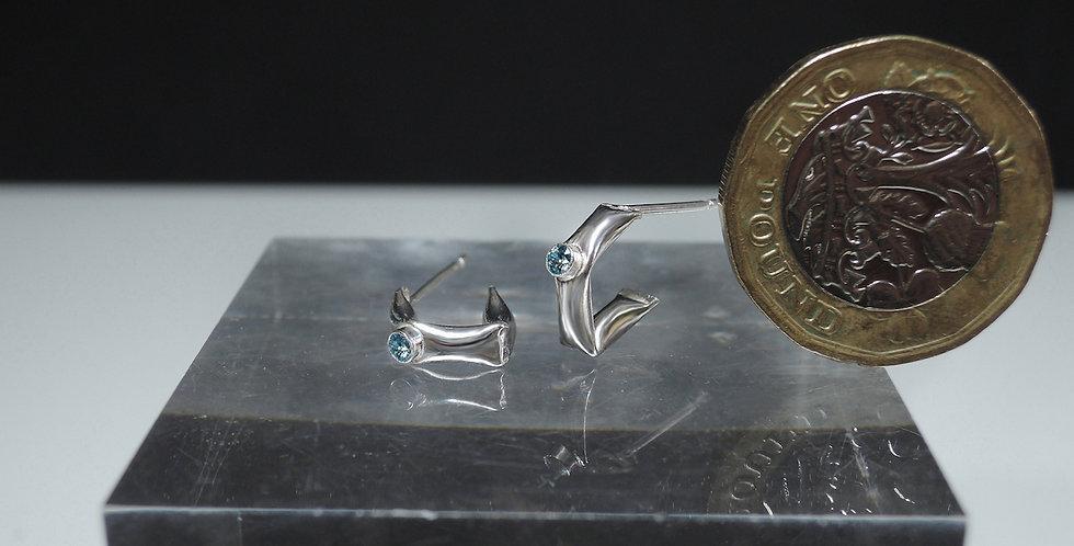 Blue Topaz slim puffy earrings in sterling silver