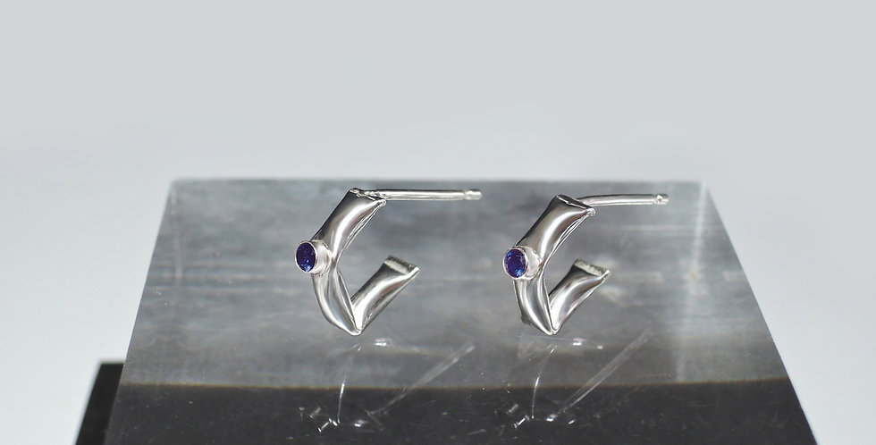 Cubic Zirconia slim puffy earrings in sterling silver