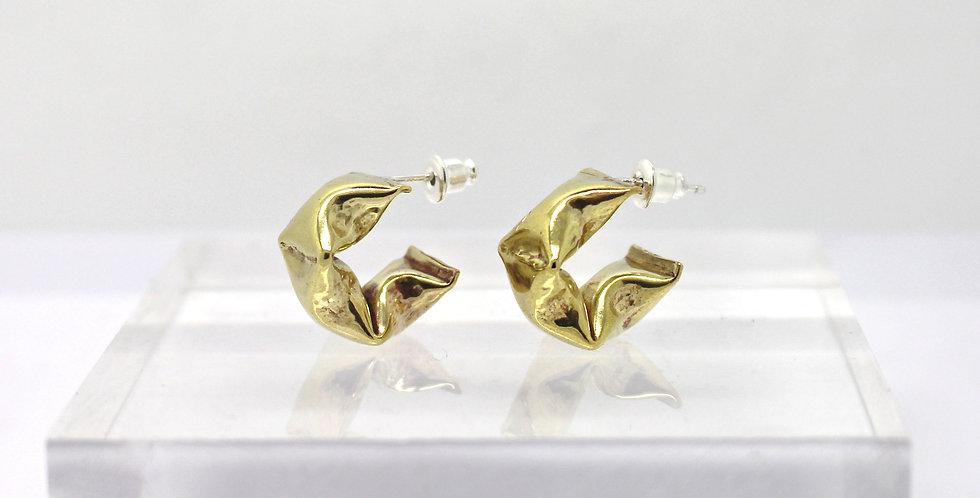 Golden three puffs semi hoop earrings with silver post