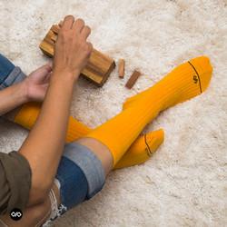 Dynamocks Solid Mango Men & Women Crew Length Socks