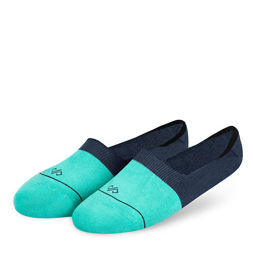 Dynamocks Invisibles Socks | India | Dual Solid Turquoise & Navy Blue