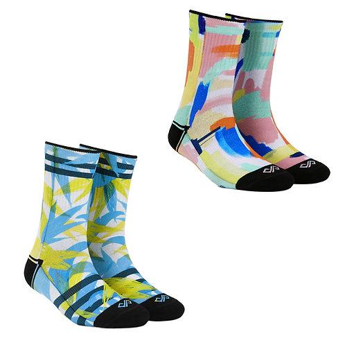 Dynamocks Artistic Socks | India | #6 Super Saver Pack | Unisex Crew Length Socks | Pack of 2 Pairs