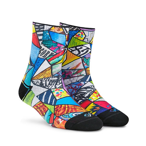 Dynamocks Artistic Socks | India | Art Bomb Quarter Ankle Length Socks R