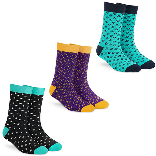 Dynamocks Socks Savvy | India | Pack of 3 Pairs | Unisex Crew Length Socks | Pack of 3 Pairs | Classic + Plush + Plus