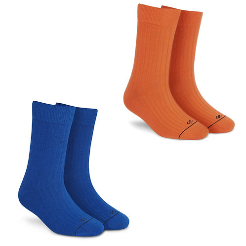 Dynamocks Socks Savvy | India | Pack of 2 Pairs | Unisex Crew Length Socks | Pack of 2 Pairs | Orange + Royal Blue