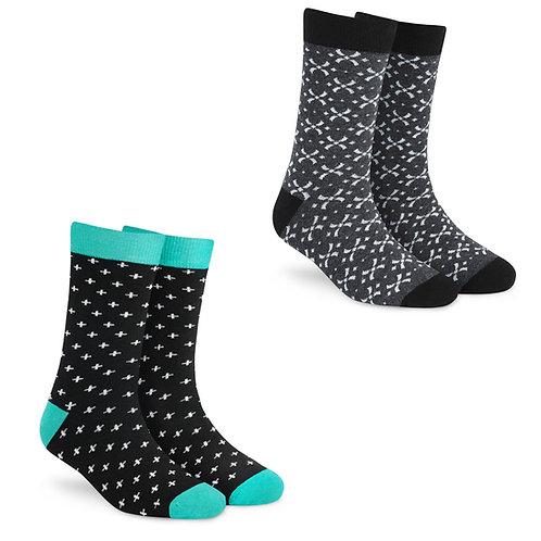 Dynamocks Socks Savvy | India | Pack of 3 Pairs | Unisex Crew Length Socks | Pack of 2 Pairs | Plus + Criss Cross