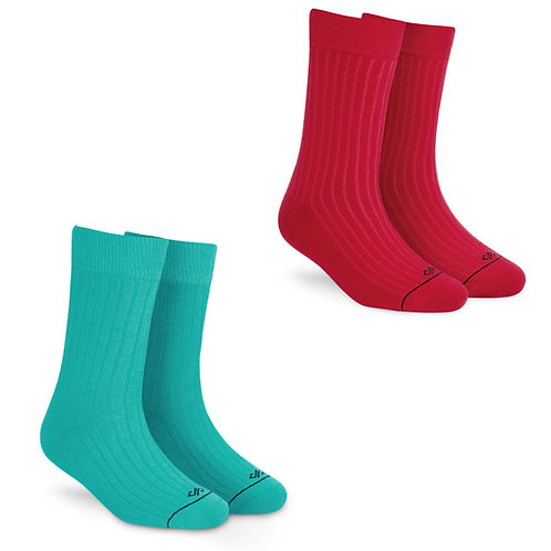 Dynamocks Socks Savvy | India | Pack of 2 Pairs | Unisex Crew Length Socks | Pack of 2 Pairs | Red + Turquoise