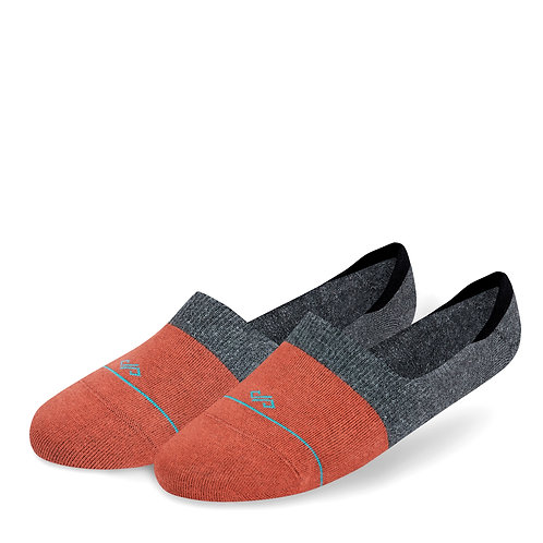 Dynamocks Invisibles Socks | India | Dual Solid Collection | Rust + Dark Grey Melange
