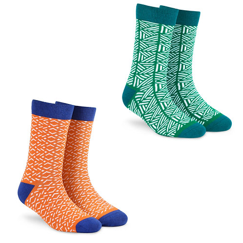 Dynamocks Socks Savvy   India   Pack of 2 Pairs   Unisex Crew Length Socks   Pack of 2 Pairs   Tangy + Grill
