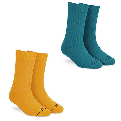 Dynamocks Socks Savvy | India | Pack of 2 Pairs | Unisex Crew Length Socks | Pack of 2 Pairs | Mango + Teal Green