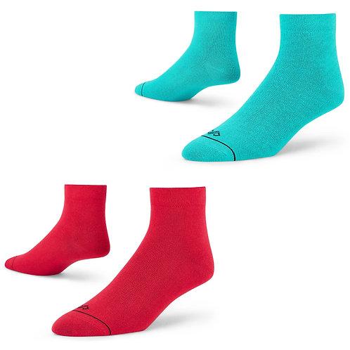 Dynamocks men and women ankle length socks - red + turquoise