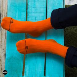 Dynamocks Solid Orange Men & Women Crew Length Socks