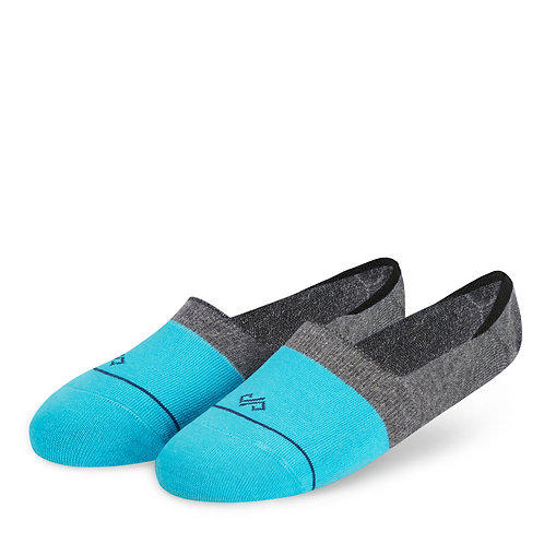 Dynamocks Invisibles Socks | India | Dual Solid Aqua & Dark Grey