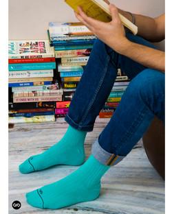 Dynamocks Solid Turquoise Men & Women Crew Length Socks