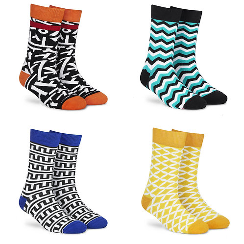 Dynamocks Cotton Excellence Socks | India | #2 Super Saver Pack | Unisex Crew Length Socks | Pack of 4 Pairs